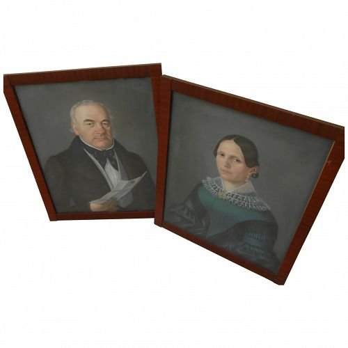 German or Swiss art PAIR 1841 pastel portrait paintings signed E. YOHN