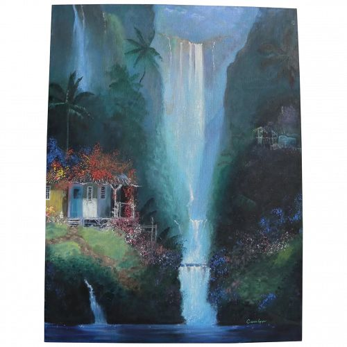 Tropical waterfall fantasy landscape contemporary painting