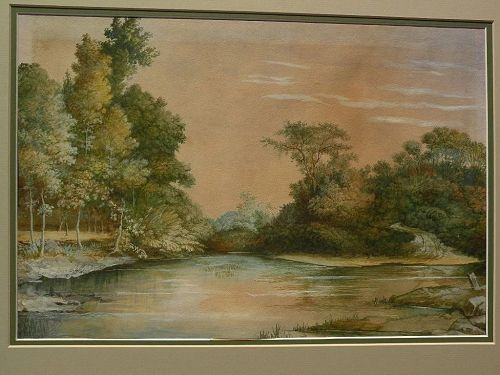 Hudson River style 19th century gouache and watercolor landscape painting