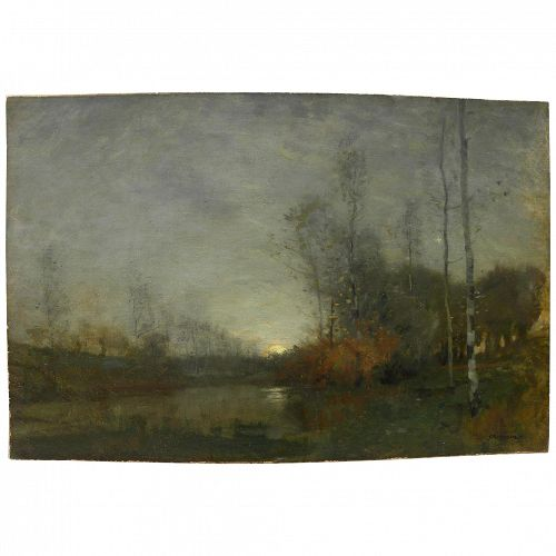 "ROBERT MACAULAY STEVENSON (1854-1952) Tonalist impressionist circa 1900 dusk landscape painting by well listed Scottish ""Glasgow Boys"" artist"