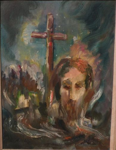 WILLY STAHL (1896-1963) expressionist painting of Jesus and the cross by known California artist and composer