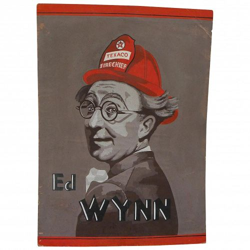 Petroliana original gouache drawing of comedian actor Ed Wynn of Texaco's 1930's The Fire Chief radio show