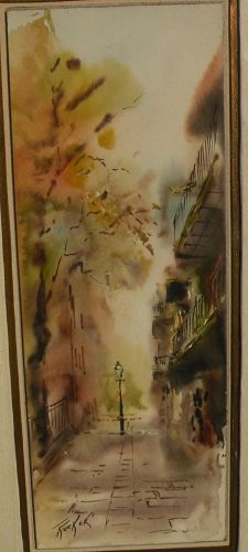 ROBERT M. RUCKER (1932-2001) New Orleans art watercolor painting of Pirates Alley by well known Louisiana artist