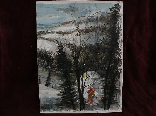 ERNEST SCANES (1909-1994) listed Michigan artist watercolor painting of winter skiers