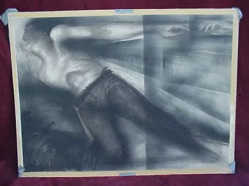 "Modern large figural drawing in charcoal signed ""McBride"""