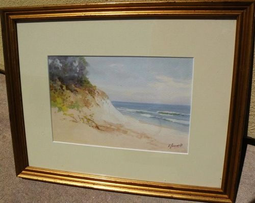 VICTOR CASENELLI (1867-1961) well listed American art watercolor of Lake Michigan shoreline dunes