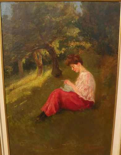 A. MORENO DE TORRES (Argentinian, 19th/20th century) oil painting  pensive young woman �