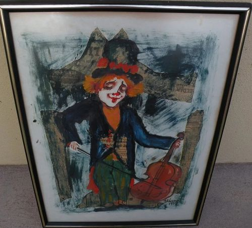 ROGER ETIENNE (1922-2011) mixed media collage impressionist 1972 painting of clown by noted French-American artist