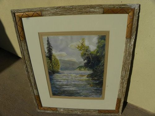 American watercolor painting 1934 mountain landscape initials
