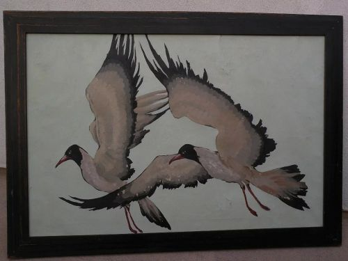 American Art Deco era painting seagulls in flight style of Jane Peterson or Stark Davis