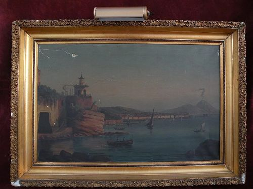 Neapolitan 19th century painting Bay of Naples Italy and Mt. Vesuvius