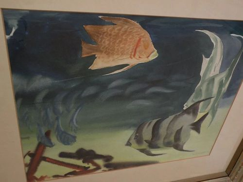 ELIOT O'HARA (1890-1969) original watercolor painting of tropical reef fish dated 1951 by well known watercolor artist and teacher�