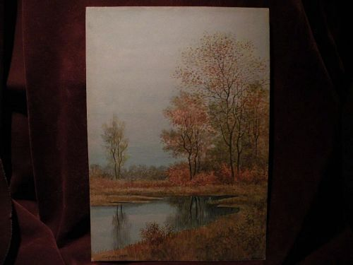 English watercolor painting autumn trees and pond signed SYDNEY COOPER