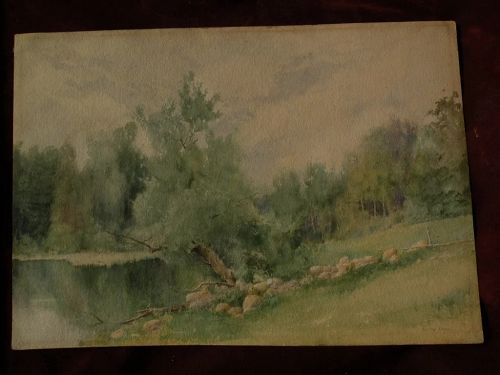 BYRON ALBEE listed Boston artist American 19th century watercolor landscape painting