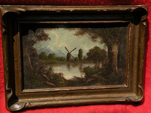 RICHARD DETREVILLE (1864-1929) Northern California art framed oil landscape including windmill