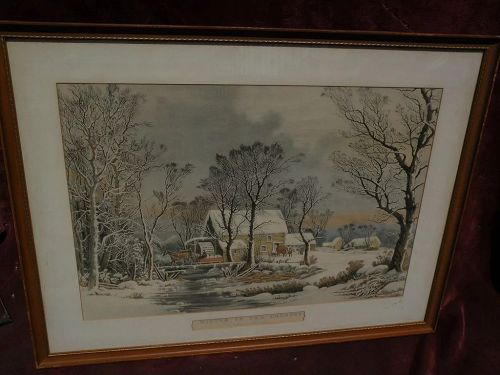"""CURRIER & IVES American print making later restrike of """"Winter in the Country"""""""
