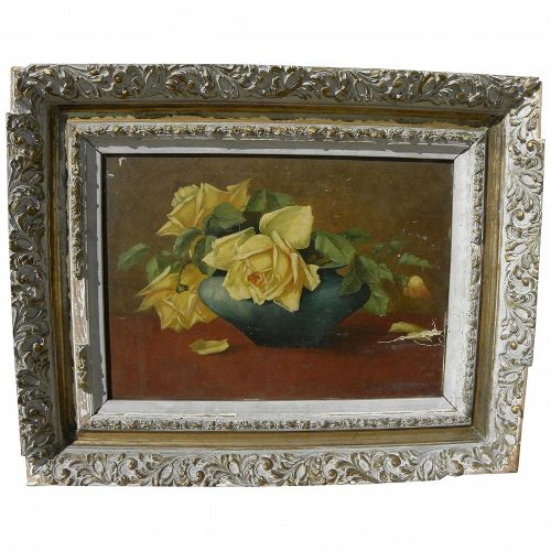 Belgian 1902 still life painting of yellow roses in a vase signed M. Verberckmoes