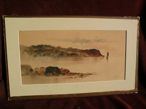 CHARLES P. GRUPPE (1860-1940) early watercolor landscape painting by well listed American artist