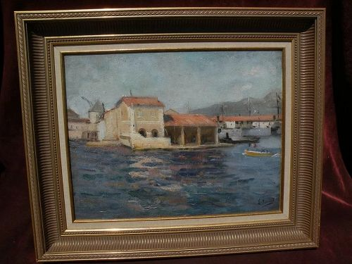 LOUIS MICHEL BERNARD (1885-1962) impressionist oil painting Mediterranean port by noted French Orientalist painter