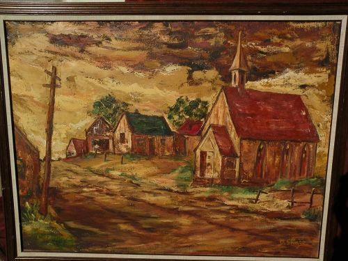Southwestern art Regionalist style landscape painting signed DeShazo