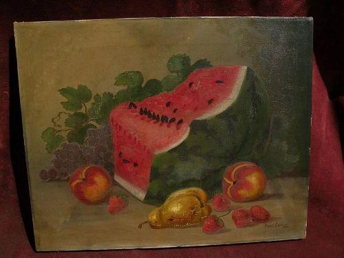 MABEL LEMOS (1861-) still life painting of fruit by Santa Cruz California listed artist