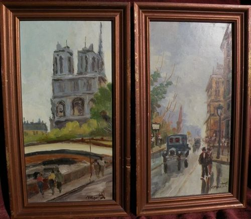 French art PAIR of signed Paris street scene paintings