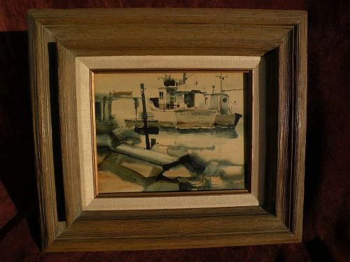 RITCHIE ALLEN BENSON (1941-1996) watercolor painting of boats at the dock in central California
