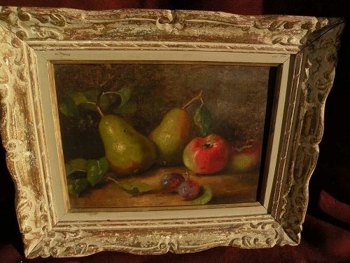 Signed French or Belgian circa 1900 still life painting of pears apples and plums