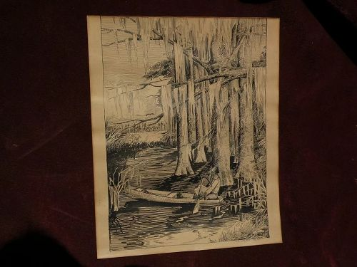 Florida art original 1917 signed ink drawing boy in southern cypress swamp