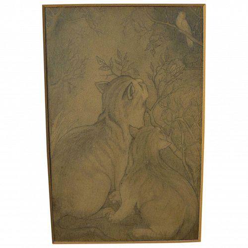 Cat art antique illustrator-style pencil drawing of cats eyeing bird