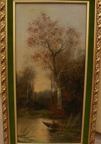 Antique Hungarian  landscape oil painting signed circa 1900