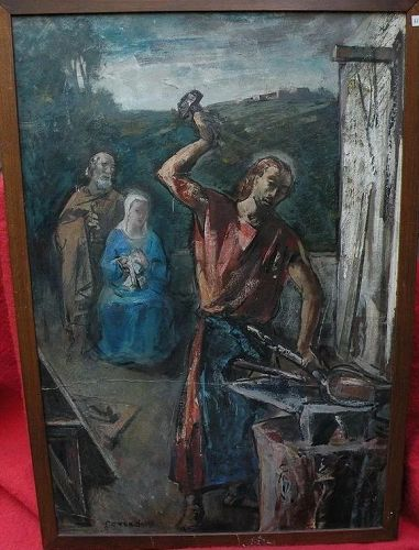 SILVIO CONSADORI (1909-1994) double-sided painting of religious subject by well listed Italian modern artist