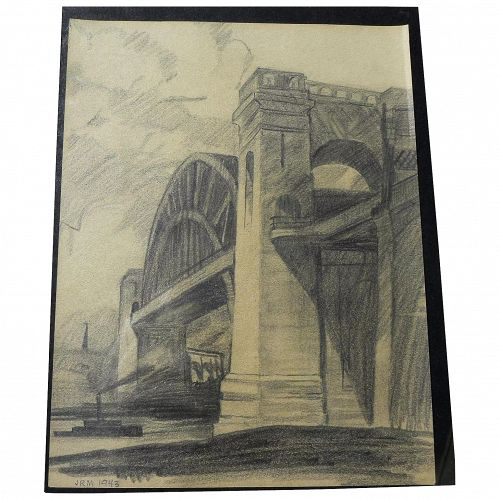 JOHN RICHARD MOORE (1925-2009) early pencil drawing of Hell Gate Bridge New York