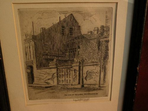 JAMES CARL HANCOCK (1898-1966) Southern American art New Orleans Louisiana etching print by Arkansas artist