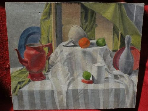 Signed contemporary still life painting objects on draped table