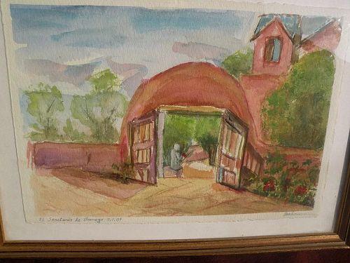 Northern New Mexico art original signed contemporary watercolor of iconic Santuario de Chimayo