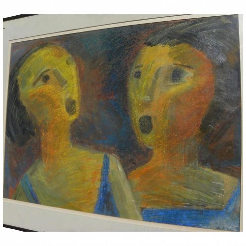 FELIX BUK Expressionist mid 20th century mixed media drawing by Russian artist