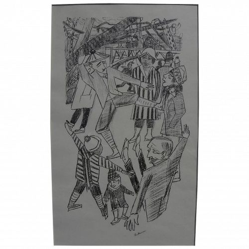 "MAX BECKMANN (1884-1950) pencil signed lithograph ""Eislauf"" (Ice Skating) 1922 by the major German Expressionist artist"