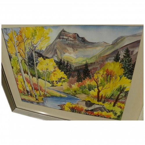 FLORA DAVIS FISHER  (1891-1984) listed Utah art beautiful watercolor painting high mountains in autumn colors