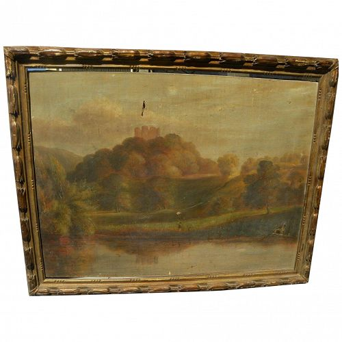 English circa 1850 landscape painting with figures