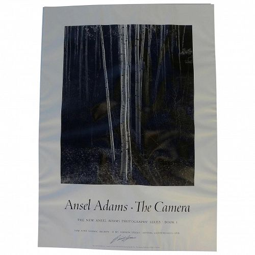 """ANSEL ADAMS (1902-1984) hand signed black and white poster """"Aspens, Northern New Mexico, 1958"""""""