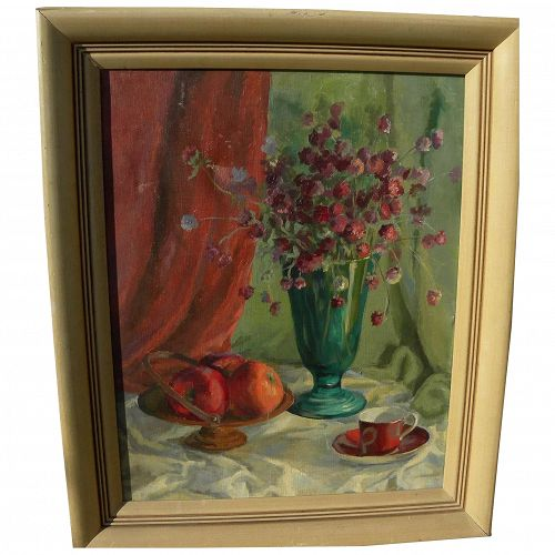 American impressionist still life painting circa 1950 signed Sprague
