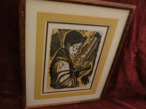 IRVING AMEN (1918-2011) original limited edition pencil signed woodblock print by noted Jewish American artist