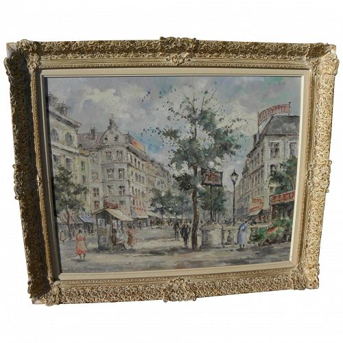 French art Paris mid 20th century impressionist street scene painting by listed artist V. GERNON