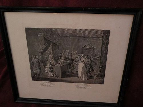 WILLIAM HOGARTH (1697-1764) English art posthumous restrike engraving by famous social satirist artist