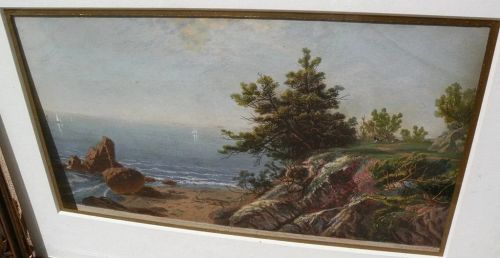 JOHN FREDERICK KENSETT (1816-1872) colored engraving of Beverly Massachusetts shoreline by the famous American luminist painter