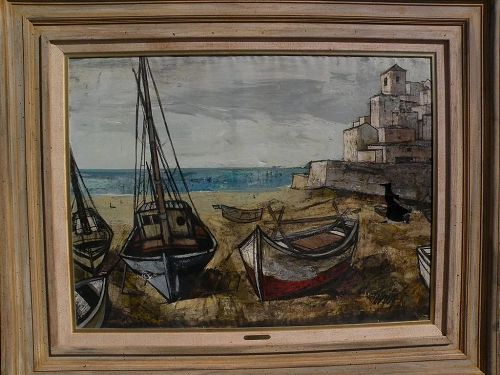 CHARLES LEVIER (1920-2004) French contemporary art very large painting of boats and harbor