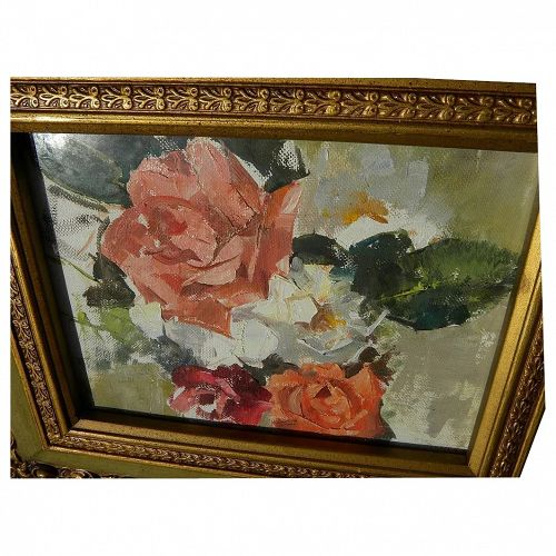 NAN GREACEN (1908-1999) impressionist oil painting of roses by National Acdemician artist