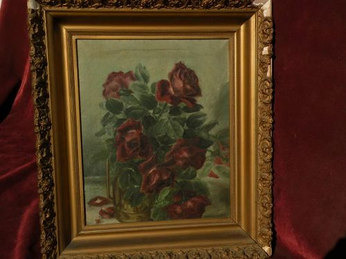 Roses still life floral oil painting circa 1900 signed