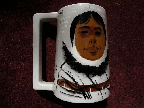 SASCHA BRASTOFF (1918-1993) California pottery mid century modern Retro painted mug